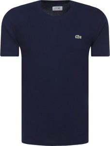 Niebieski t-shirt Lacoste z krótkim rękawem z dresówki