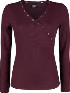 Czerwona bluzka Emp z długim rękawem z dekoltem w kształcie litery v