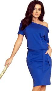 Niebieska sukienka Coco Style z krótkim rękawem w stylu casual z bawełny