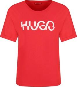 Czerwony t-shirt Hugo Boss w stylu casual z okrągłym dekoltem z krótkim rękawem