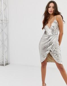 Srebrna sukienka Girl In Mind mini na ramiączkach