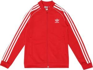 Czerwona kurtka dziecięca Adidas Originals w paseczki