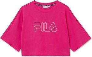Różowa bluzka Fila z bawełny z okrągłym dekoltem