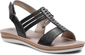 Czarne sandały Inblu z płaską podeszwą w stylu casual z klamrami