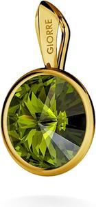 GIORRE SREBRNY WISIOREK SWAROVSKI RIVOLI 925 : Kolor kryształu SWAROVSKI - Olivine, Kolor pokrycia srebra - Pokrycie Żółtym 24K Złotem