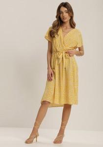Żółta sukienka Renee midi z dekoltem w kształcie litery v z krótkim rękawem
