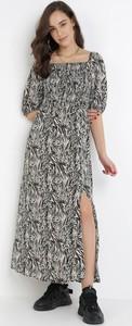 Sukienka born2be w stylu casual maxi z okrągłym dekoltem
