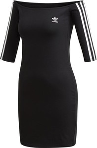 Czarna sukienka Adidas Originals z dresówki hiszpanka mini