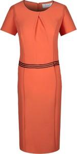 Sukienka Fokus midi z krótkim rękawem w stylu klasycznym