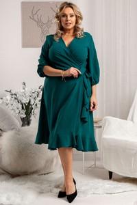 Zielona sukienka KARKO midi z długim rękawem z dzianiny