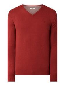 Czerwony sweter Tom Tailor w stylu casual z bawełny