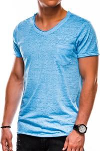 Niebieski t-shirt Ombre z krótkim rękawem