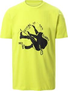 Żółty t-shirt The North Face w sportowym stylu z nadrukiem z krótkim rękawem