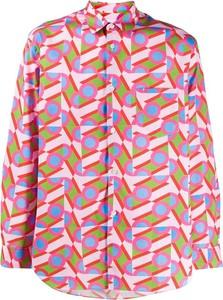 Różowa bluzka Comme Des Garçons z długim rękawem z dekoltem w kształcie litery v