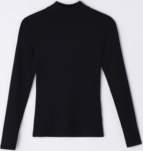 Czarna bluzka Cropp z długim rękawem w stylu casual