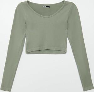Zielona bluzka Cropp w stylu casual z tkaniny z okrągłym dekoltem