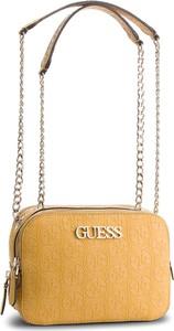 Żółta torebka Guess na ramię mała