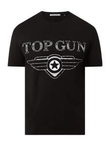 Czarny t-shirt Top Gun z nadrukiem z krótkim rękawem w młodzieżowym stylu