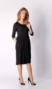 Sukienka Nommo z długim rękawem midi z bawełny