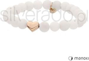 Silverado bransoletka biała z matowych jadeitów i złotego serca 77-ba384rw
