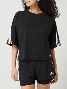 Czarny t-shirt Adidas Performance w sportowym stylu z bawełny z okrągłym dekoltem