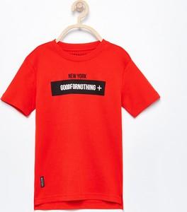Czerwona koszulka dziecięca Reserved z krótkim rękawem