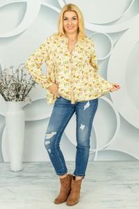 Brązowa bluzka Made in Italy z długim rękawem