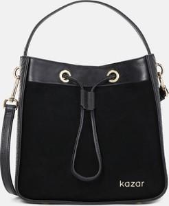 Czarna torebka Kazar w stylu glamour zamszowa z zamszu
