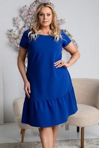 Niebieska sukienka KARKO z okrągłym dekoltem z krótkim rękawem z dresówki