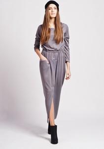 Fioletowa sukienka Lanti z okrągłym dekoltem maxi
