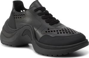 Czarne buty sportowe Eva Minge sznurowane z płaską podeszwą