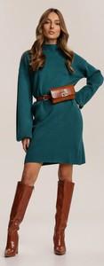 Zielona sukienka Renee z długim rękawem mini z golfem