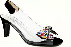 Czarne sandały Tamaris w stylu klasycznym na obcasie
