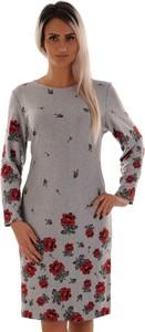 Sukienka Lamar z okrągłym dekoltem z długim rękawem mini