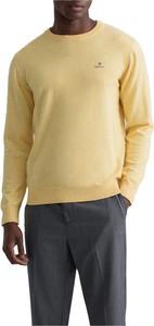 Żółty sweter Gant z bawełny z okrągłym dekoltem w stylu casual