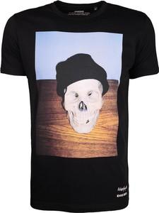 Czarny t-shirt Diesel z bawełny z nadrukiem z krótkim rękawem