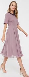 Sukienka Asos Design midi z krótkim rękawem