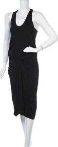 Czarna sukienka Joe Fresh z dekoltem w kształcie litery v na ramiączkach midi