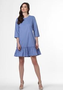Niebieska sukienka Marie Lund w stylu casual z długim rękawem rozkloszowana