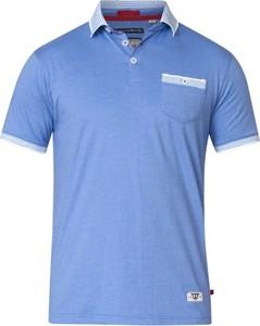 Niebieska koszulka polo Duke z krótkim rękawem z dzianiny