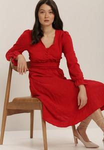 Sukienka Renee z długim rękawem z dekoltem w kształcie litery v midi
