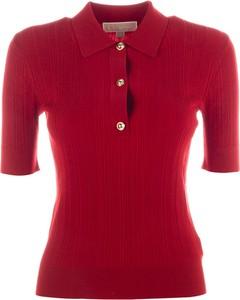 Czerwona bluzka Michael Kors w stylu casual z okrągłym dekoltem z krótkim rękawem