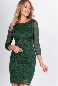 Zielona sukienka ZOiO.pl z długim rękawem mini dopasowana