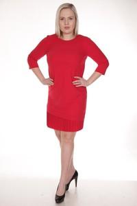Czerwona sukienka Fokus z okrągłym dekoltem z długim rękawem midi