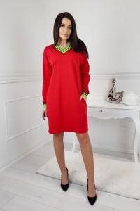 cd9cdc19ba Czerwona sukienka Trendy By Sobiertex z dresówki z długim rękawem midi