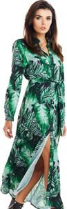 Sukienka Awama z dekoltem w kształcie litery v maxi koszulowa