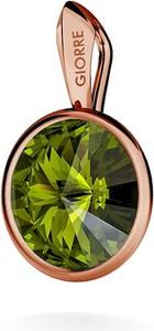 GIORRE SREBRNY WISIOREK SWAROVSKI RIVOLI 925 : Kolor kryształu SWAROVSKI - Olivine, Kolor pokrycia srebra - Pokrycie Różowym 18K Złotem