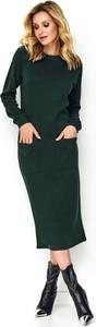 Zielona sukienka Makadamia z okrągłym dekoltem w stylu casual