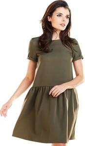 Zielona sukienka Awama mini w stylu casual