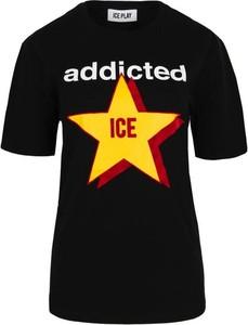 Czarny t-shirt Ice Play z bawełny z krótkim rękawem